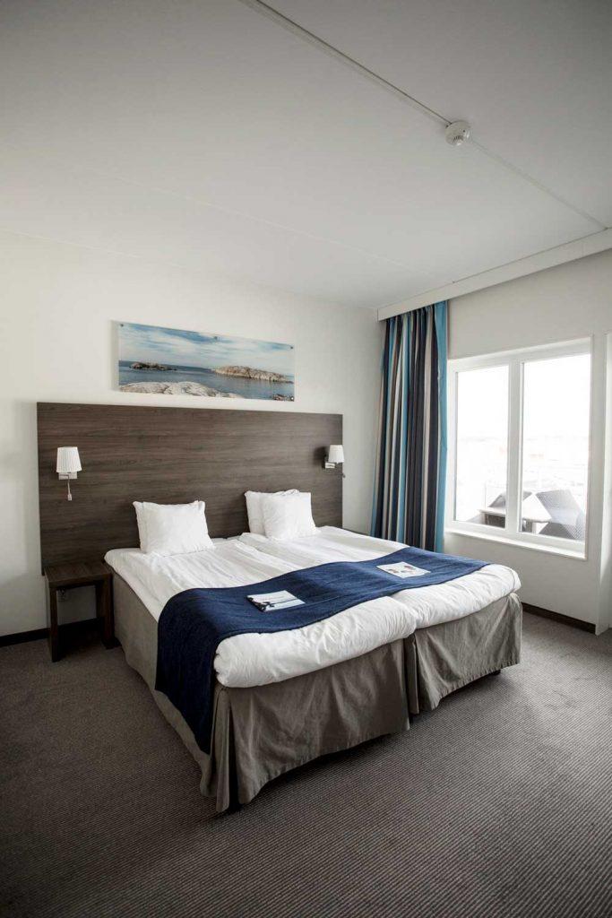 Dubbelrum på hotell på Västkusten nära Grebbestad