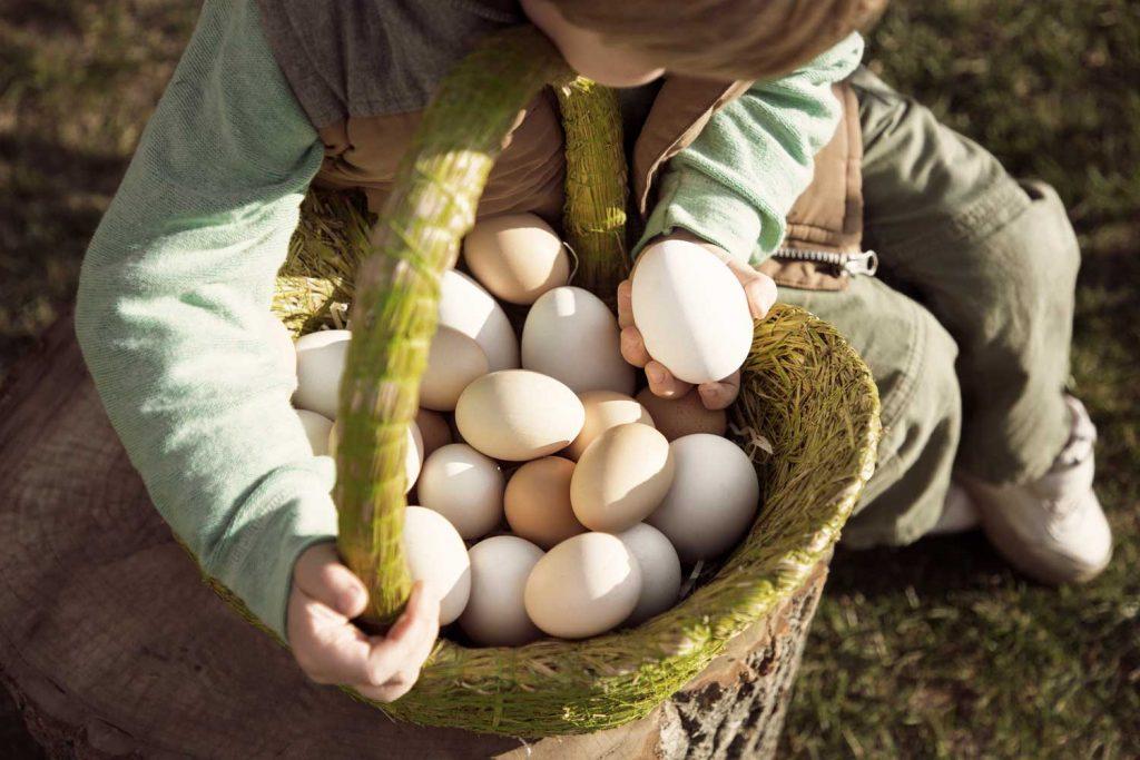 Barn firar Påsk på Påskovet med äggjakt på TanumStrand i Grebbestad i Västsverige