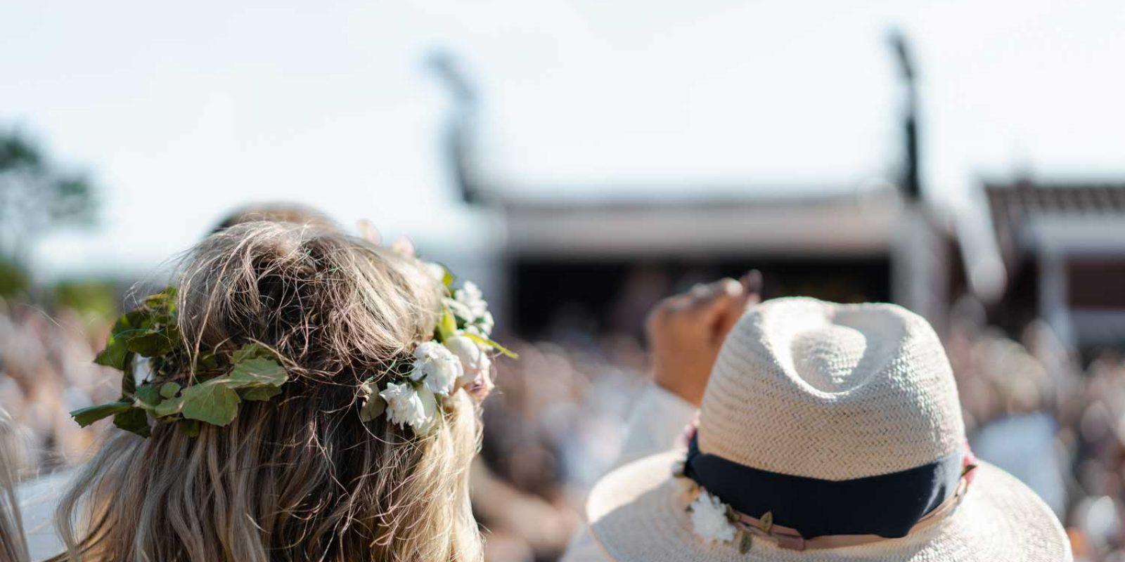 Tourists celebrating Swedish Midsummer in West Sweden